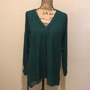 White House Black Market hunter green long blouse